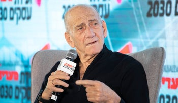 Former prime minister Ehud Olmert at the Maariv Conference, Herzliya, February 26, 2020