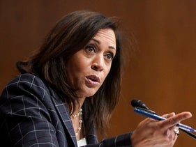 Sen. Kamala Harris, D-Calif., speaks at a Senate Homeland Security and Governmental Affairs Committee hearing on June 25, 2020 on Capitol Hill in Washington.