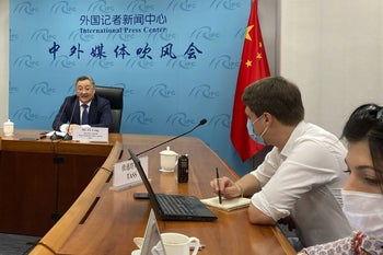 Fu Cong, director general of the Department of Arms Control of the Chinese Ministry of Foreign Affairs, speaks to media at a press briefing on nuclear arms talks in Beijing on Wednesday, July 8, 2020