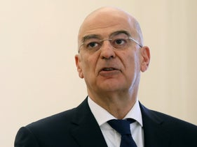 Greek Foreign Minister Nikos Dendias speaks during a joint statement with his Italian counterpart Luigi Di Maio at the Foreign Ministry in Athens, June 9, 2020.