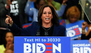 Sen. Kamala Harris, D-Calif., speaks at a campaign rally for Democratic presidential candidate former Vice President Joe Biden in Detroit, on March 9, 2020.