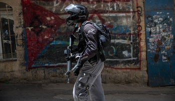 A police officer in the Mea She'arim neighborhood of Jerusalem, June 11, 2020