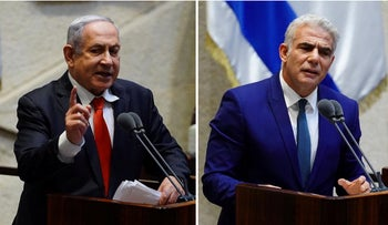 Netanyahu and Lapid at the Knesset.