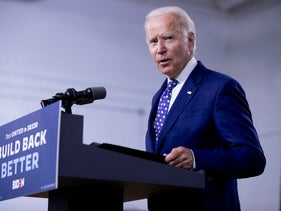 Democratic presidential candidate former Vice President Joe Biden speaks at a campaign event in in Wilmington, Del. on July 28, 2020.