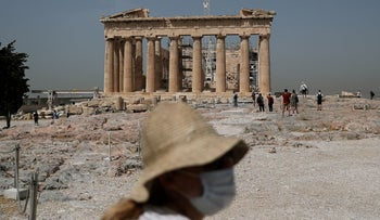The Parthenon temple at the Acropolis, in Athens, Greece, May 18, 2020.