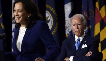 Democratic vice presidential running mate, US Senator Kamala Harris, speaks as Democratic presidential nominee and former US Vice President Joe Biden during the first press conference with Joe Biden in Wilmington, Delaware, on August 12, 2020