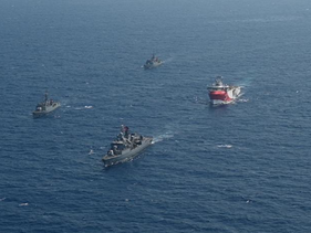 Turkey's research vessel, Oruc Reis, surrounded by Turkish navy vessels in the Mediterranean, August 10, 2020.
