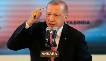 Turkish President Recep Tayyip Erdogan delivers a speech during a political event in Ankara, August 13, 2020.