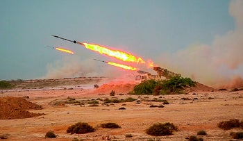 Missiles are fired in a Revolutionary Guard military exercise, Iran, July 28, 2020.