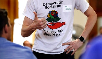 A t-shirt promoting democratic socialism during a gathering of the Southern Maine Democratic Socialists of America at City Hall in Portland, Maine, 2018.