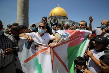 A protest against the United Arab Emirates in front of the Dome of the Rock, in Jerusalem's Old City, August 14, 2020.