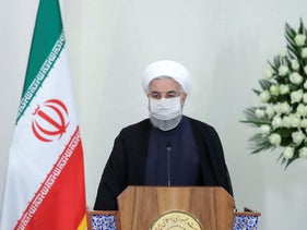 Iranian President Hassan Rohani speaks during a press conference, July 21, 2020.