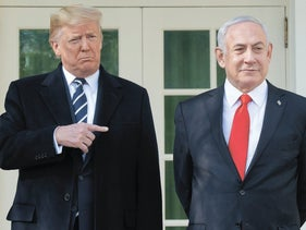 US President Donald Trump and Israeli Prime Minister Benjamin Netanyahu (R) speak to the press on the West Wing Colonnade prior to meetings at the White House in Washington, DC, January 27, 2020.