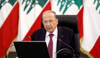 Lebanon's President Michel Aoun delivers a speech at the presidential palace in Baabda, Lebanon, June 25, 2020.