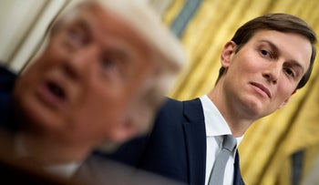 Senior Advisor Jared Kushner listens while US President Donald Trump announces an agreement between the United Arab Emirates and Israel to normalize diplomatic ties, the White House August 13, 2020, in Washington, DC.