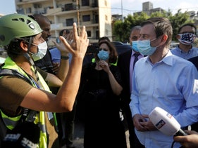 U.S. Under Secretary of State for Political Affairs David Hale visits Beirut after the port explosion, August 13, 2020.