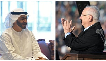 This collage shows Abu Dhabi Crown Prince Mohammed bin Zayed (L) in 2019 and Israeli President Reuven Rivlin (R) in 2019.