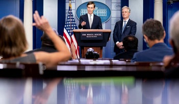 Kushner gives a press briefing on the Israel-UAE deal at the White house, August 13, 2020.