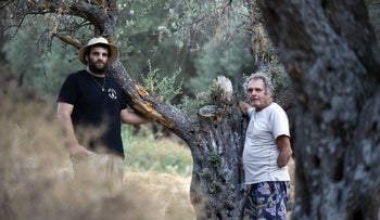Ilan Rona, right, and his son Tai Rona next to a damaged tree, August 2020.