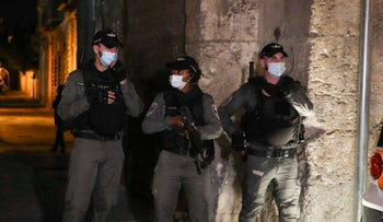 Border Police near the scene of the stabbing in the Old City of Jerusalem, August 17, 2020.