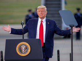 U.S. President Donald Trump speaks at an event at the Wittman Regional Airport in Oshkosh, Wisconsin, August 17, 2020.