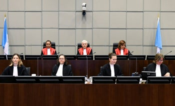 Judge David Re, Presiding Judge, Judge Janet Nosworthy and Judge Micheline Braidy at the United Nations-backed Lebanon Tribunal in Leidschendam, Netherlands August 18, 2020.