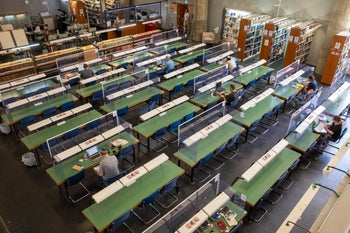 Social distancing in the National Library in Jerusalem.