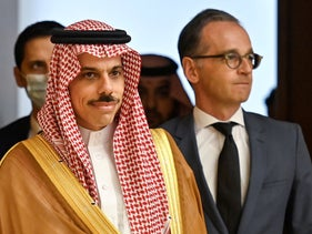 German Foreign Minister Heiko Maas and Saudi Foreign Minister Prince Faisal bin Farhan arrive for a joint news conference in Berlin, Germany August 19, 2020.