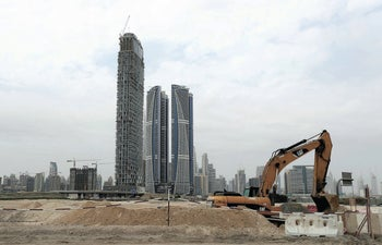 Damac towers are under construction in the Business Bay district of Dubai, United Arab Emirates, Tuesday, February 11, 2020.