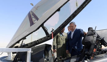 Prime Minister Benjamin Netanyahu visits the Air Force's F-35 squadron, December 2019.