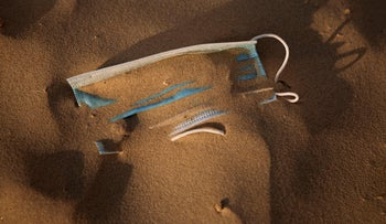 Mask at the beach front in Tel Aviv, Israel, May 16, 2020