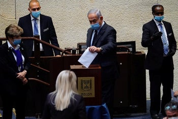 Netanyahu during a Knesset vote on the selection of judges for the Judicial Appointments committee, July 2020.