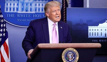 U.S. President Donald Trump speaks during a news conference in the Brady Press Briefing Room at the White House in Washington, U.S., August 19, 2020