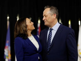 Senator Kamala Harris and her husband Douglas Emhoff are seen at the stage during a campaign event in Wilmington, Delaware, August 12, 2020.