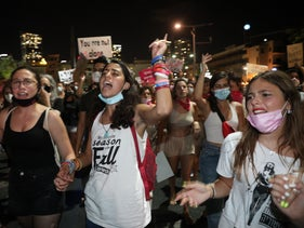 Protesters demonstrate against sexual violence at Habima Square, Tel Aviv, August 20, 2020