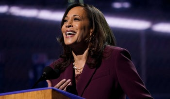 Senator Kamala Harris accepts the Democratic vice presidential nomination during an acceptance speech in Wilmington, Delaware, August 19, 2020.