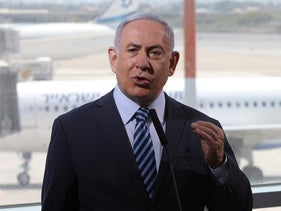 Benjamin Netanyahu during a visit to Ben-Gurion International Airport on August 17, 2020.