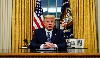 U.S. President Donald Trump speaks from the Oval Office at the White House, Washington, March 11, 2020.