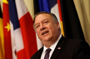 U.S. Secretary of State Mike Pompeo speaks to reporters, New York, August 20, 2020.