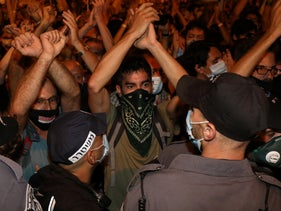 Protesters in Jerusalem on August 22, 2020.