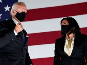 Democratic presidential candidate and former Vice President Joe Biden on stage with his running mate Sen. Kamala Harris, during the Democratic National Convention in Wilmington, Del. Aug. 20, 2020