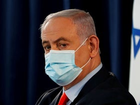 Benjamin Netanyahu during a weekly cabinet meeting in Jerusalem on May 31, 2020.