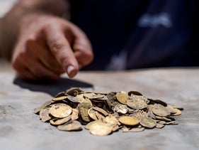 Ninth-century gold coins from the Abbasid Caliphate found in central Israel on August 18, 2020.