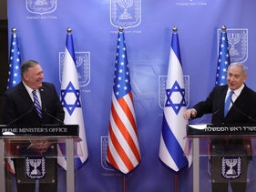 Prime Minister Benjamin Netanyahu and U.S. Secretary of State Mike Pompeo at the Prime Minister's Office in Jerusalem, August 24, 2020.
