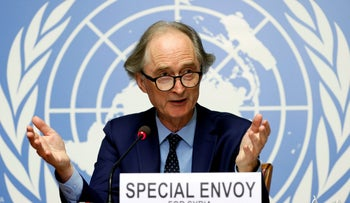 UN Special Envoy for Syria Geir Pedersen at a news conference ahead of a meeting of the Syrian Constitutional Committee at the United Nations in Geneva, Switzerland, August 21, 2020.