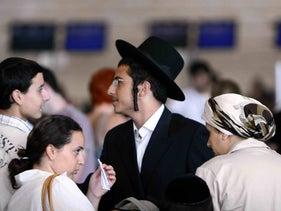 Bratslav Hasidim at Ben-Gurion International Airport before boarding a plane to Uman, 2007.