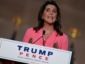 Former Ambassador to the United Nations Nikki Haley speaks during the first day of the Republican convention at the Mellon auditorium on August 24, 2020 in Washington, DC