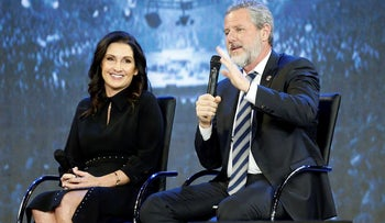 This Wednesday Nov. 28, 2018 file photo shows Rev. Jerry Falwell Jr., right, and his wife, Becki during after a town hall at a convocation at Liberty University in Lynchburg, Va.