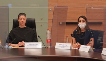 Legal advisor to the Knesset Committee on the Status of Women and Gender Equality, lawyer Anat Maimon, and MK Merav Michaeli at the Knesset, August 24, 2020.