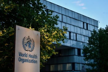 A sign of the World Health Organization (WHO) at their headquarters in Geneva amid the COVID-19 outbreak, caused by the novel coronavirus, August 17, 2020.